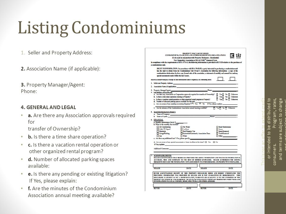 Listing Condominiums 1.Seller and Property Address: 2.