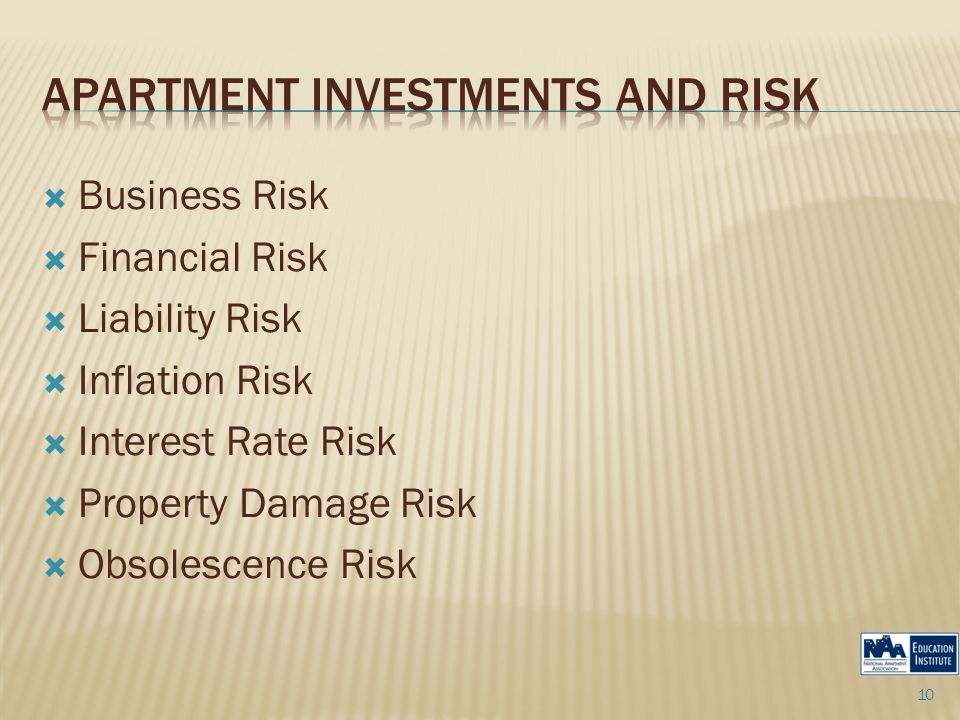  Business Risk  Financial Risk  Liability Risk  Inflation Risk  Interest Rate Risk  Property Damage Risk  Obsolescence Risk 10