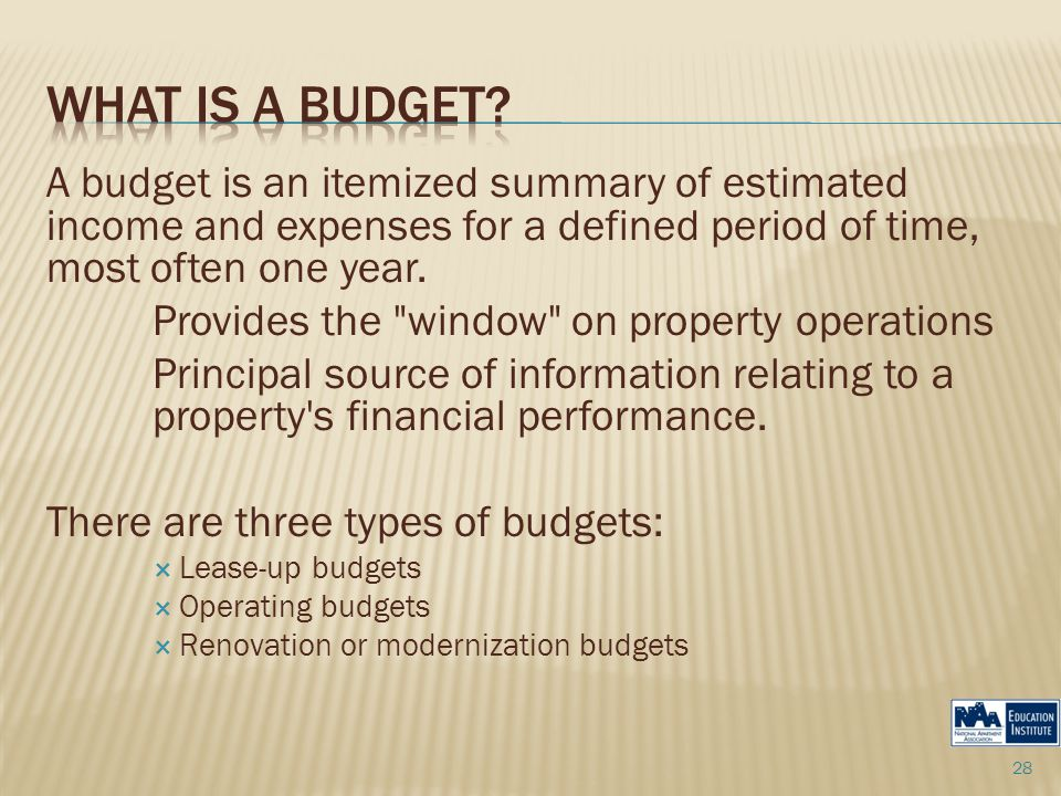 A budget is an itemized summary of estimated income and expenses for a defined period of time, most often one year.