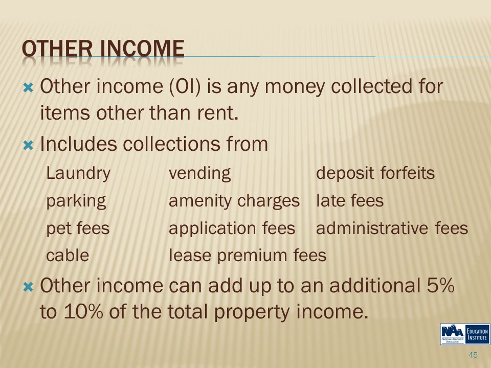  Other income (OI) is any money collected for items other than rent.