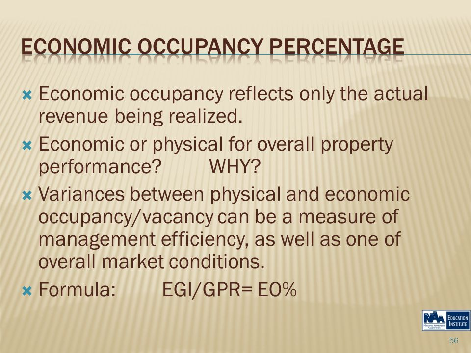  Economic occupancy reflects only the actual revenue being realized.