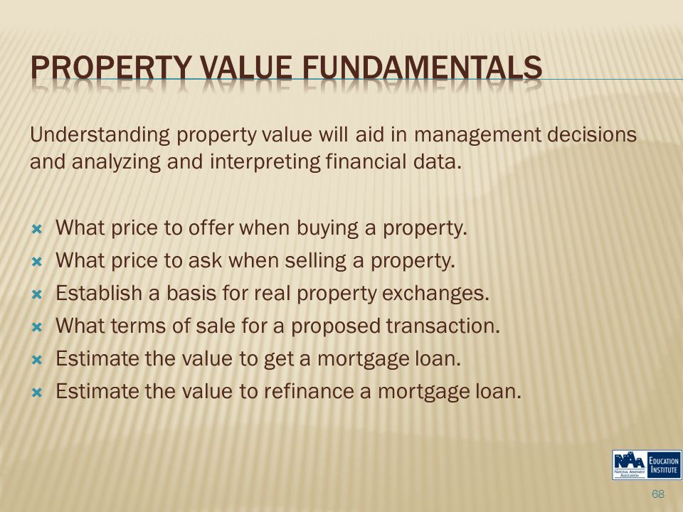 Understanding property value will aid in management decisions and analyzing and interpreting financial data.  What price to offer when buying a prope