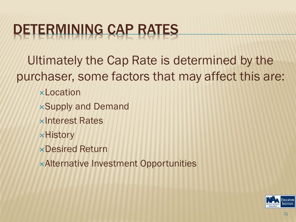 Ultimately the Cap Rate is determined by the purchaser, some factors that may affect this are:  Location  Supply and Demand  Interest Rates  History  Desired Return  Alternative Investment Opportunities 74