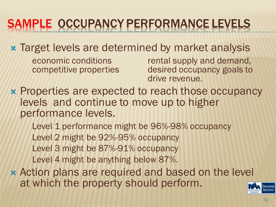  Target levels are determined by market analysis economic conditions rental supply and demand, competitive properties desired occupancy goals to drive revenue.