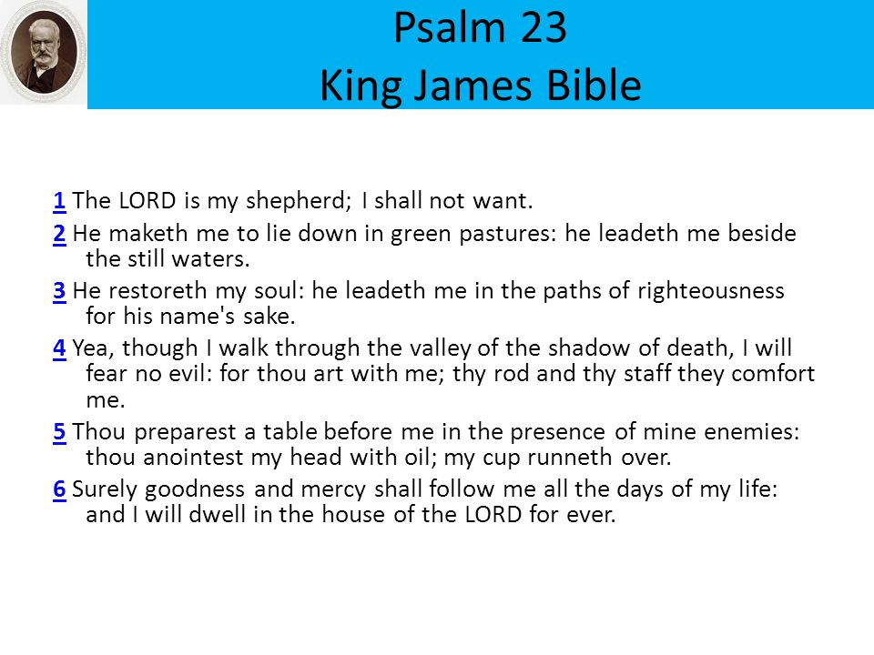 Psalm 23 King James Bible 11 The LORD is my shepherd; I shall not want.