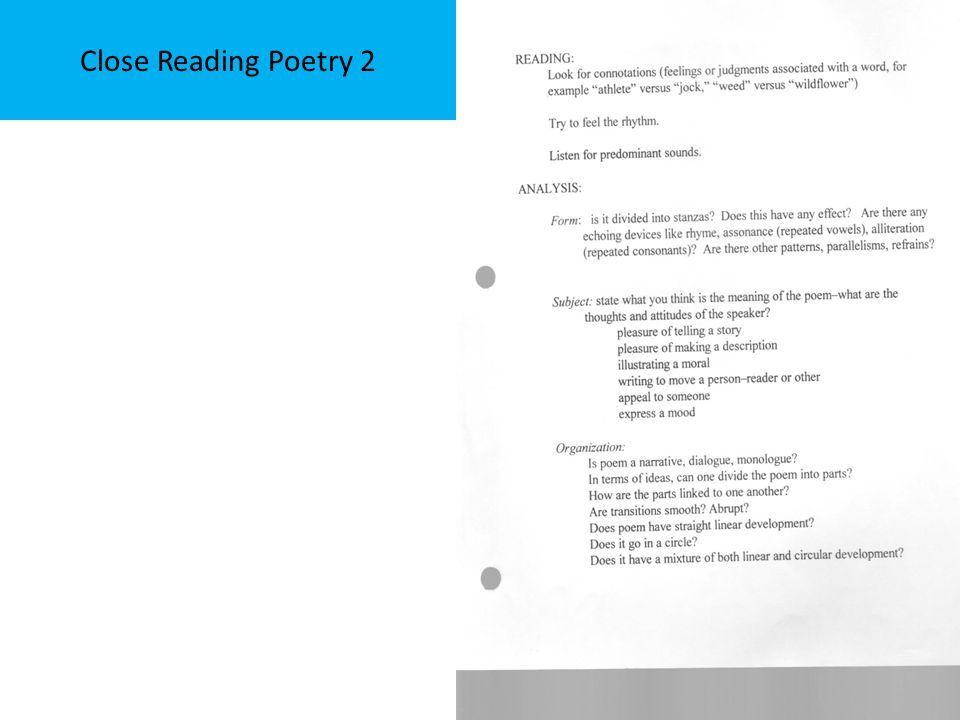 Close Reading Poetry 2