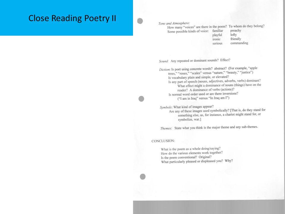 Close Reading Poetry II