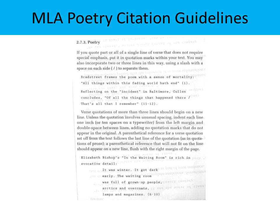 MLA Poetry Citation Guidelines