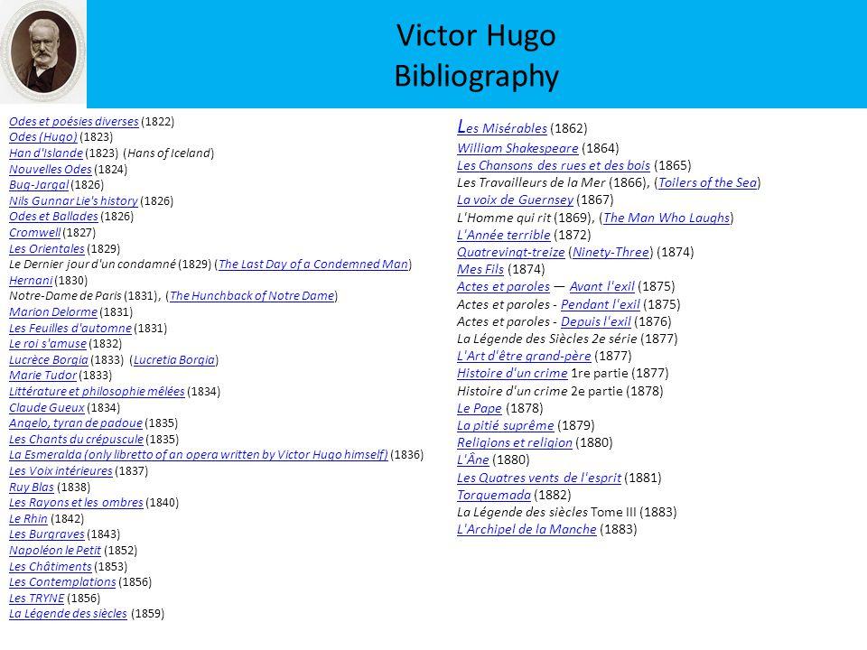 Victor Hugo Bibliography Odes et poésies diversesOdes et poésies diverses (1822) Odes (Hugo)Odes (Hugo) (1823) Han d'IslandeHan d'Islande (1823) (Hans