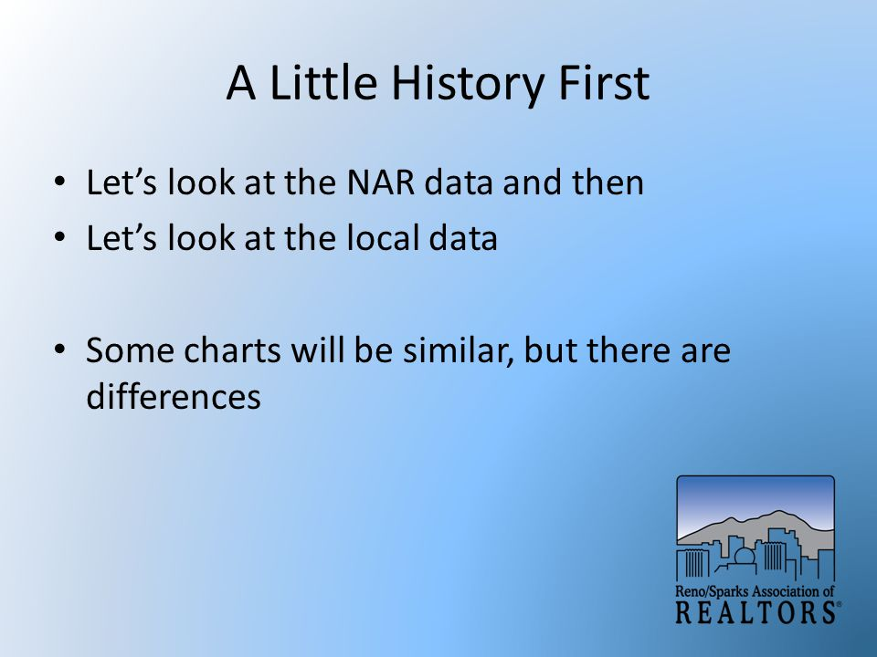 A Little History First Let's look at the NAR data and then Let's look at the local data Some charts will be similar, but there are differences