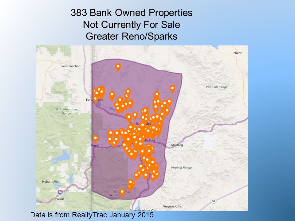 383 Bank Owned Properties Not Currently For Sale Greater Reno/Sparks Data is from RealtyTrac January 2015