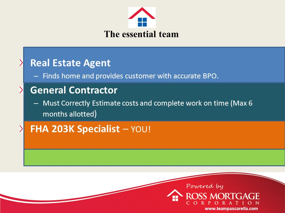 www.teampascarella.com The essential team Real Estate Agent – Finds home and provides customer with accurate BPO.