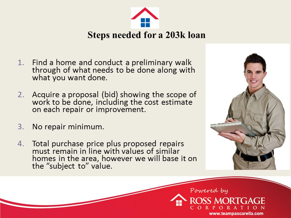 www.teampascarella.com Steps needed for a 203k loan 1.Find a home and conduct a preliminary walk through of what needs to be done along with what you want done.