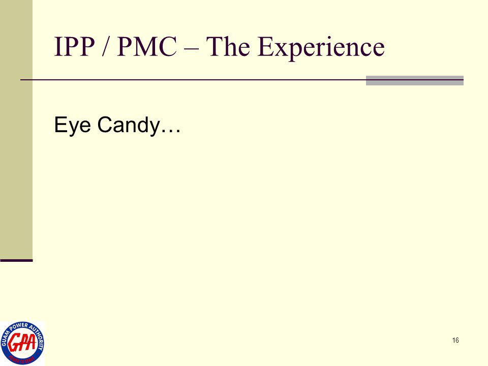 16 IPP / PMC – The Experience Eye Candy…