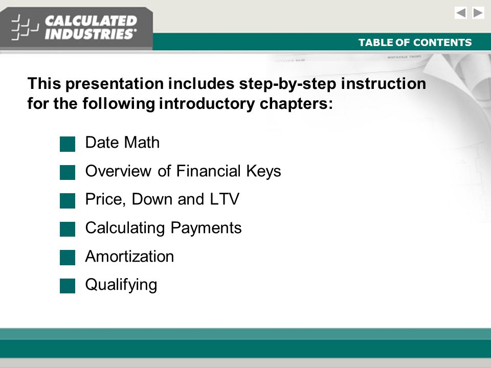 Introductory Module - Real Estate and Mortgage Slide 12 CALCULATING PAYMENTS StepsKeysDisplay Example: Add estimated Homeowner's Association dues of $80 per month to the above example and find the total payment (PITI plus monthly dues).