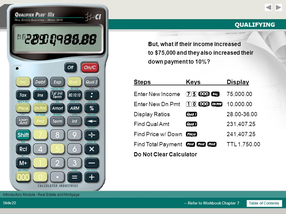 Introductory Module - Real Estate and Mortgage Slide 21 QUALIFYING StepsKeysDisplay Clear Calculator  0.00 Enter Annual Inc  60,000.00 Enter Monthly Debt  400.00 Enter Down Pmt  5,000.00 Enter Interest  5.00 % Enter Term  30.00 Enter Tax*  1.25 % Enter Insurance*  0.50 % Enter Mortgage Ins*  0.60 % Enter HA Dues  40.00 Display Ratios  28.00-36.00 Find Qual Loan Amt  184,631.02 Find Price w/ Down  189,631.02 Find Total Payment  TTL 1,400.00 Do Not Clear Calculator -- Refer to Workbook Chapter 7 * If you are using a Qualifier Plus IIIfx, you will need to press  , , and/or  to enter tax, insurance and/or mortgage insurance.