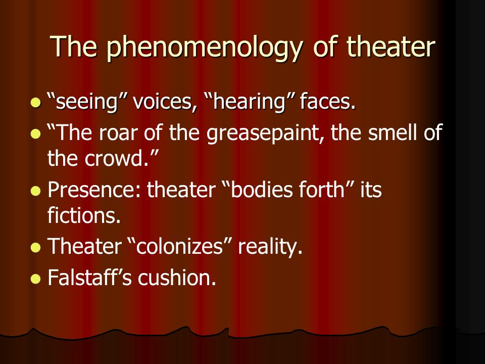 The phenomenology of theater seeing voices, hearing faces.