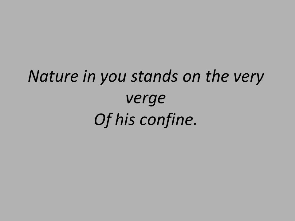 Nature in you stands on the very verge Of his confine.