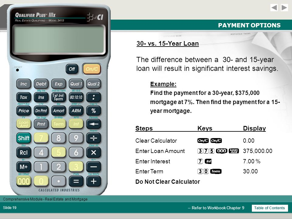 Comprehensive Module - Real Estate and Mortgage Slide 18 PAYMENT OPTIONS -- Refer to Workbook Chapter 9 Example: Find the initial low monthly payment on a $250,000 loan with an interest-only rate of 6.5%.