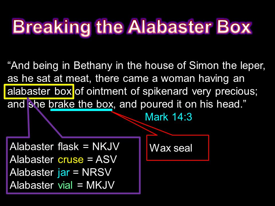And being in Bethany in the house of Simon the leper, as he sat at meat, there came a woman having an alabaster box of ointment of spikenard very precious; and she brake the box, and poured it on his head. Mark 14:3 Alabaster flask = NKJV Alabaster cruse = ASV Alabaster jar = NRSV Alabaster vial = MKJV Wax seal
