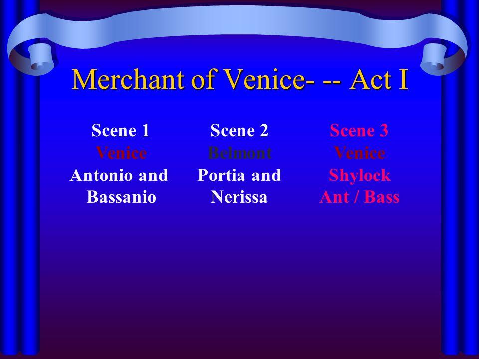 Merchant of Venice- -- Act I Scene 1 Venice Antonio and Bassanio Scene 2 Belmont Portia and Nerissa Scene 3 Venice Shylock Ant / Bass