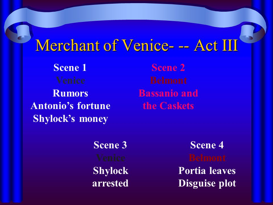 Merchant of Venice- -- Act III Scene 1 Venice Rumors Antonio's fortune Shylock's money Scene 2 Belmont Bassanio and the Caskets Scene 3 Venice Shylock arrested Scene 4 Belmont Portia leaves Disguise plot