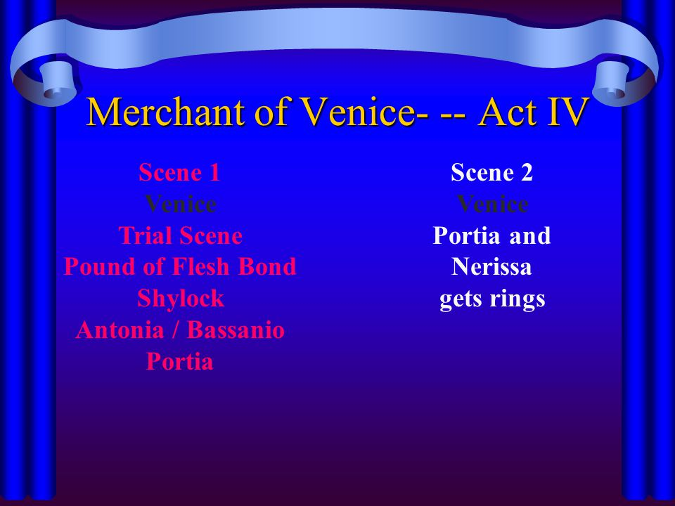 Scene 1 Venice Trial Scene Pound of Flesh Bond Shylock Antonia / Bassanio Portia Merchant of Venice- -- Act IV Scene 2 Venice Portia and Nerissa gets rings