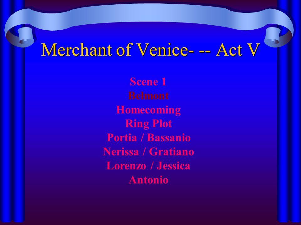 Merchant of Venice- -- Act V Scene 1 Belmont Homecoming Ring Plot Portia / Bassanio Nerissa / Gratiano Lorenzo / Jessica Antonio