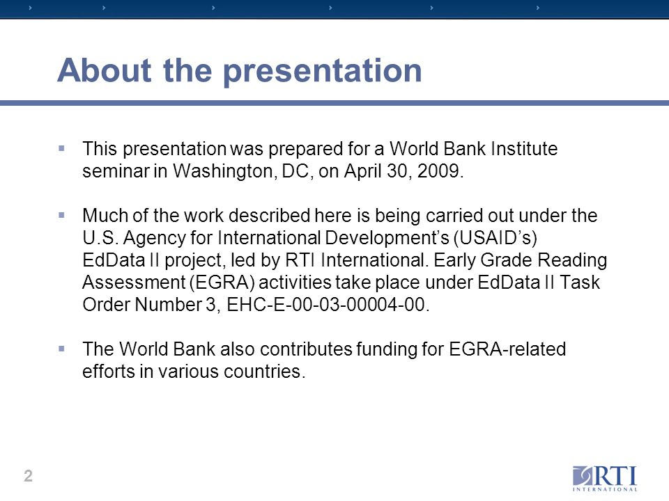 About the presentation  This presentation was prepared for a World Bank Institute seminar in Washington, DC, on April 30, 2009.