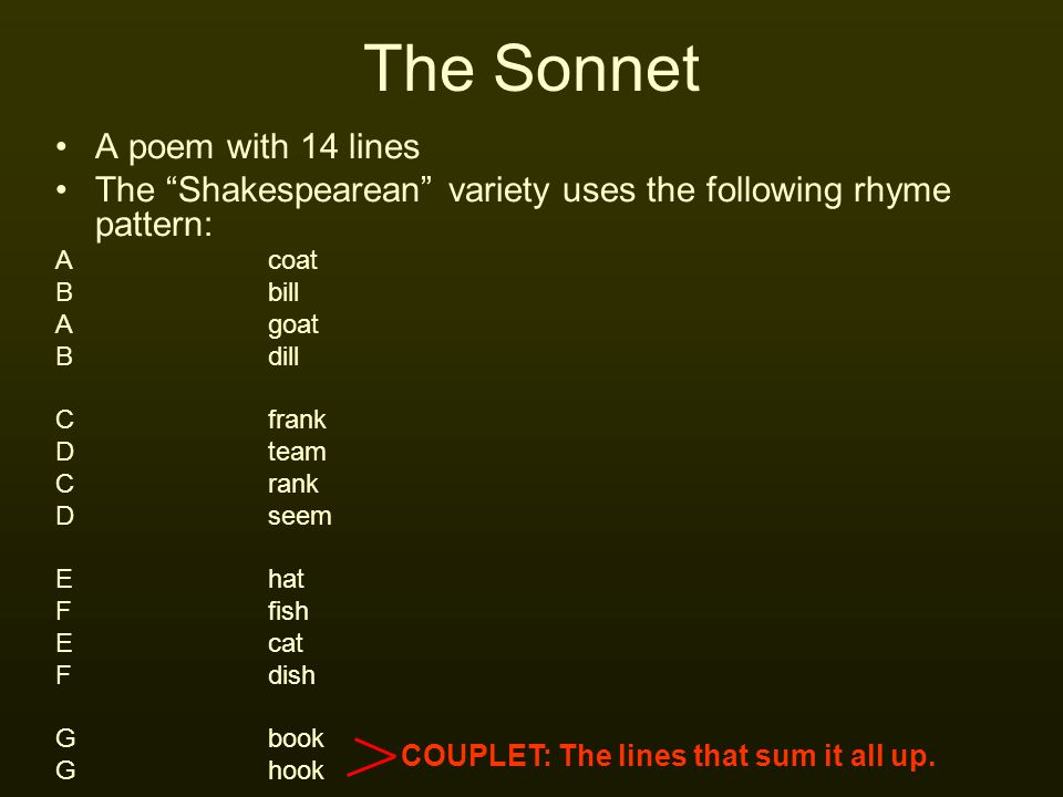 "The Sonnet A poem with 14 lines The ""Shakespearean"" variety uses the following rhyme pattern: Acoat Bbill Agoat Bdill Cfrank Dteam Crank Dseem Ehat Ff"