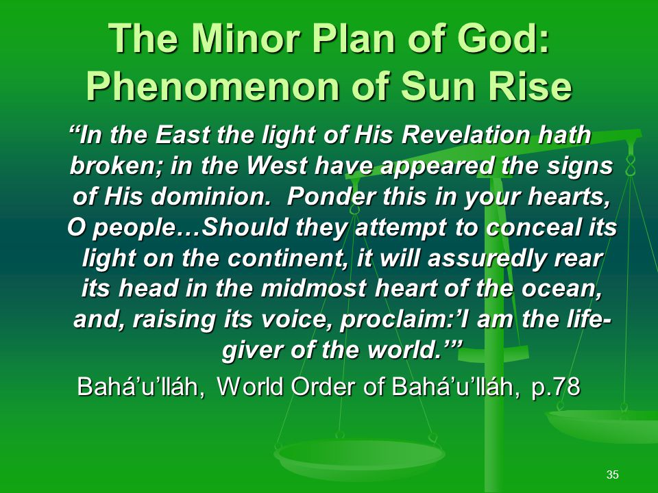 34 Divine Revelation is the Motive Power of Civilisation Verily, We behold all created things moved to bear witness unto Us.