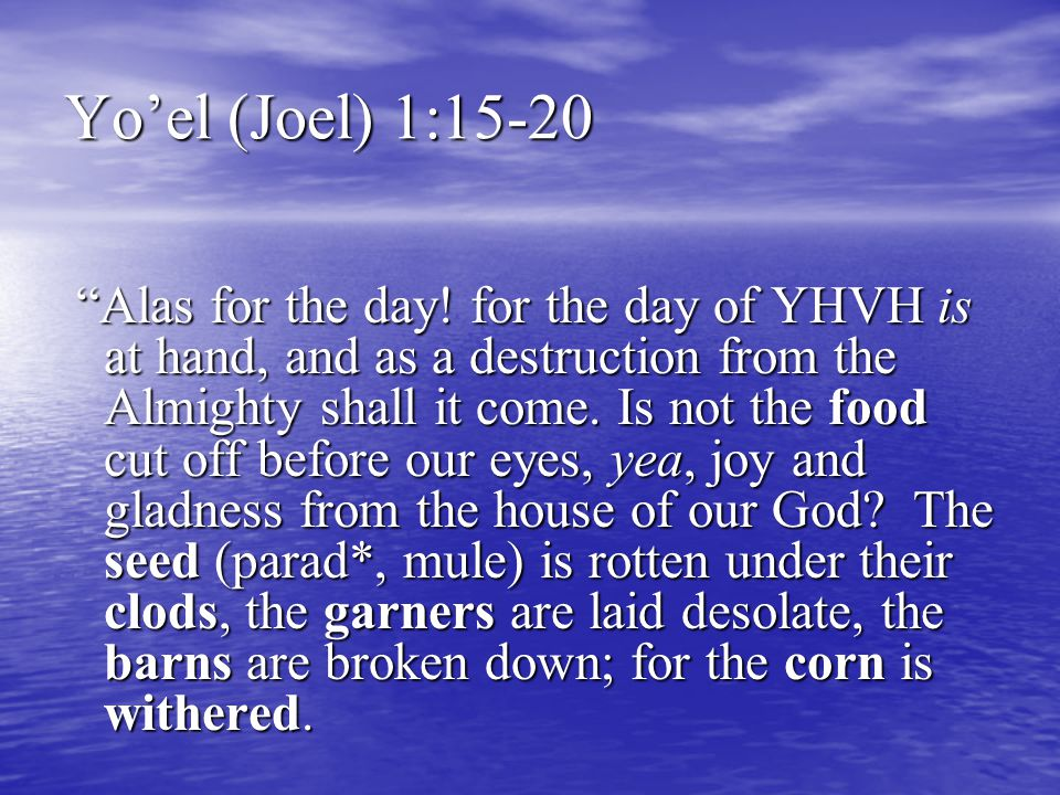 """Yo'el (Joel) 1:15-20 """"Alas for the day! for the day of YHVH is at hand, and as a destruction from the Almighty shall it come. Is not the food cut off"""