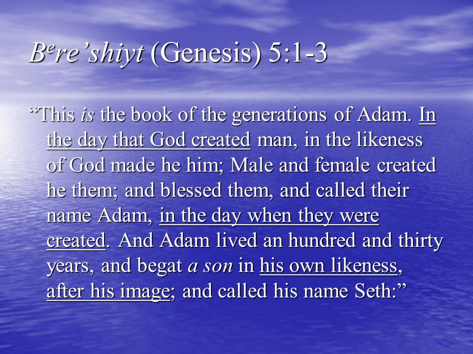 """B e re'shiyt (Genesis) 5:1-3 """"This is the book of the generations of Adam. In the day that God created man, in the likeness of God made he him; Male a"""