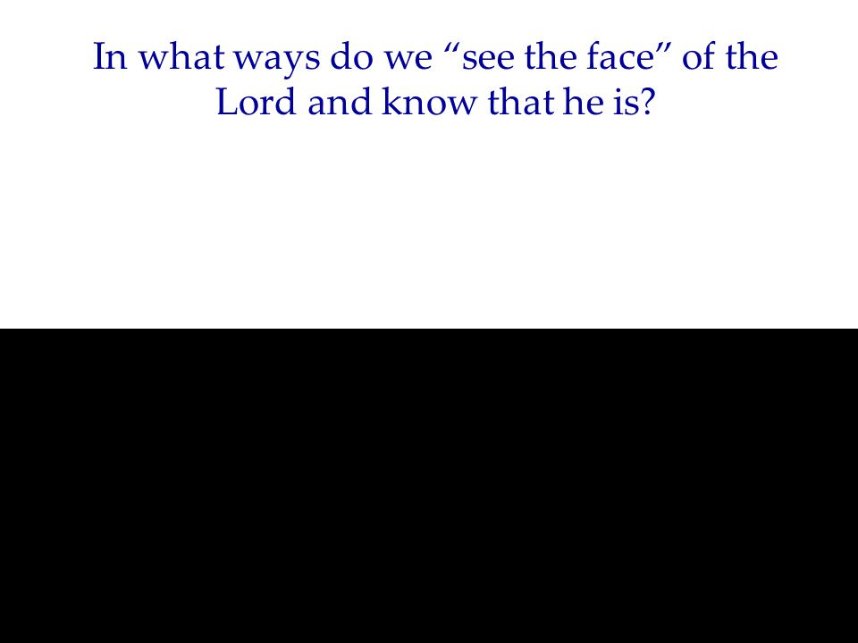 In what ways do we see the face of the Lord and know that he is