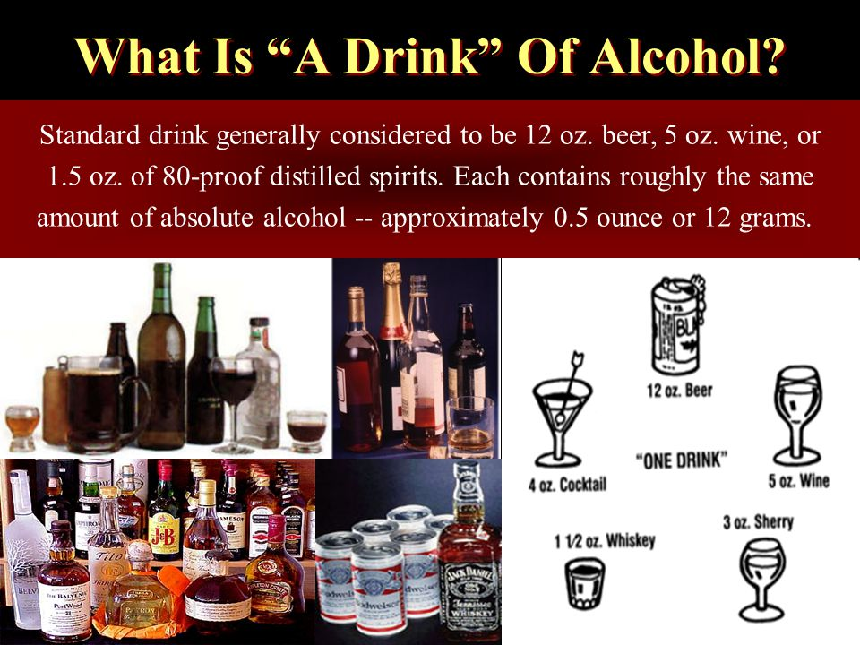 What Is A Drink Of Alcohol. Standard drink generally considered to be 12 oz.