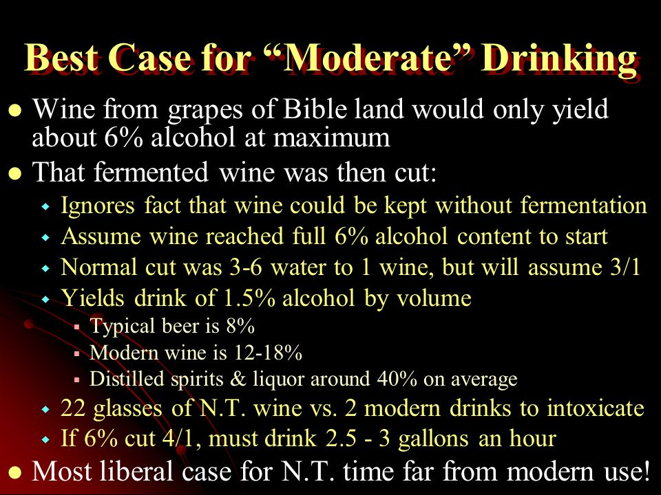 Best Case for Moderate Drinking Wine from grapes of Bible land would only yield about 6% alcohol at maximum That fermented wine was then cut:   Ignores fact that wine could be kept without fermentation   Assume wine reached full 6% alcohol content to start   Normal cut was 3-6 water to 1 wine, but will assume 3/1   Yields drink of 1.5% alcohol by volume   Typical beer is 8%   Modern wine is 12-18%   Distilled spirits & liquor around 40% on average   22 glasses of N.T.