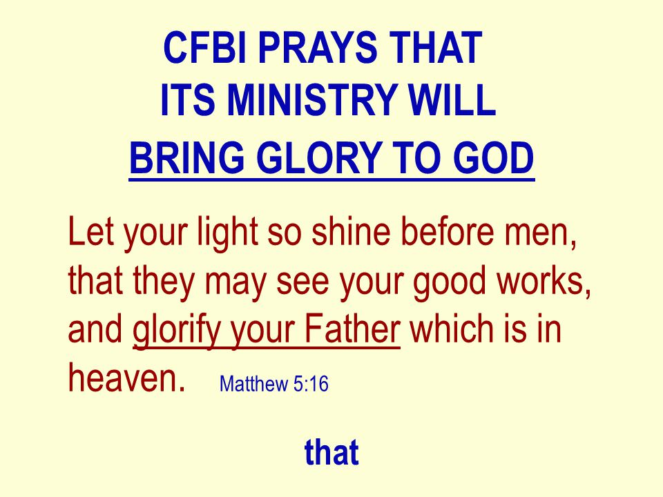 WHY SHOULD I SUPPORT CFBI.God is using me to bless the seed of Abraham.