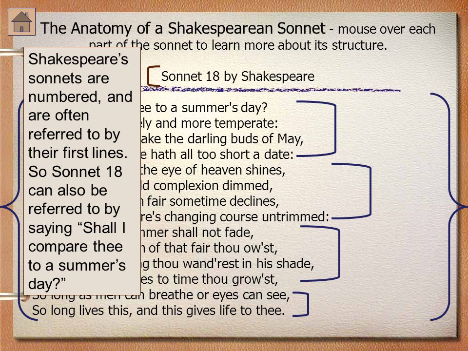 The Anatomy of a Shakespearean Sonnet - mouse over each part of the sonnet to learn more about its structure. Sonnet 18 by Shakespeare Shall I compare