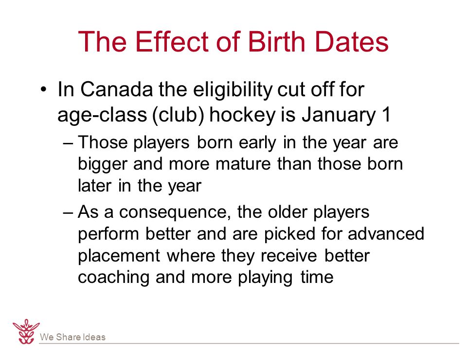 We Share Ideas The Effect of Birth Dates In Canada the eligibility cut off for age-class (club) hockey is January 1 –Those players born early in the year are bigger and more mature than those born later in the year –As a consequence, the older players perform better and are picked for advanced placement where they receive better coaching and more playing time