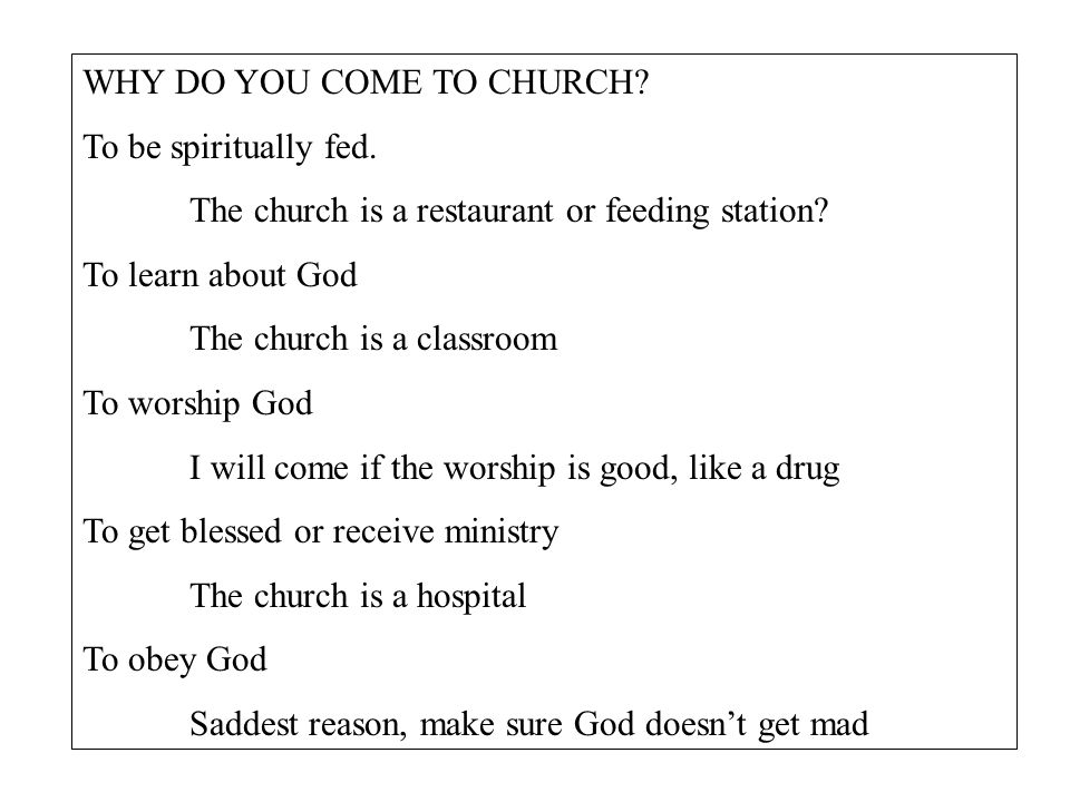 WHY DO YOU COME TO CHURCH. To be spiritually fed.