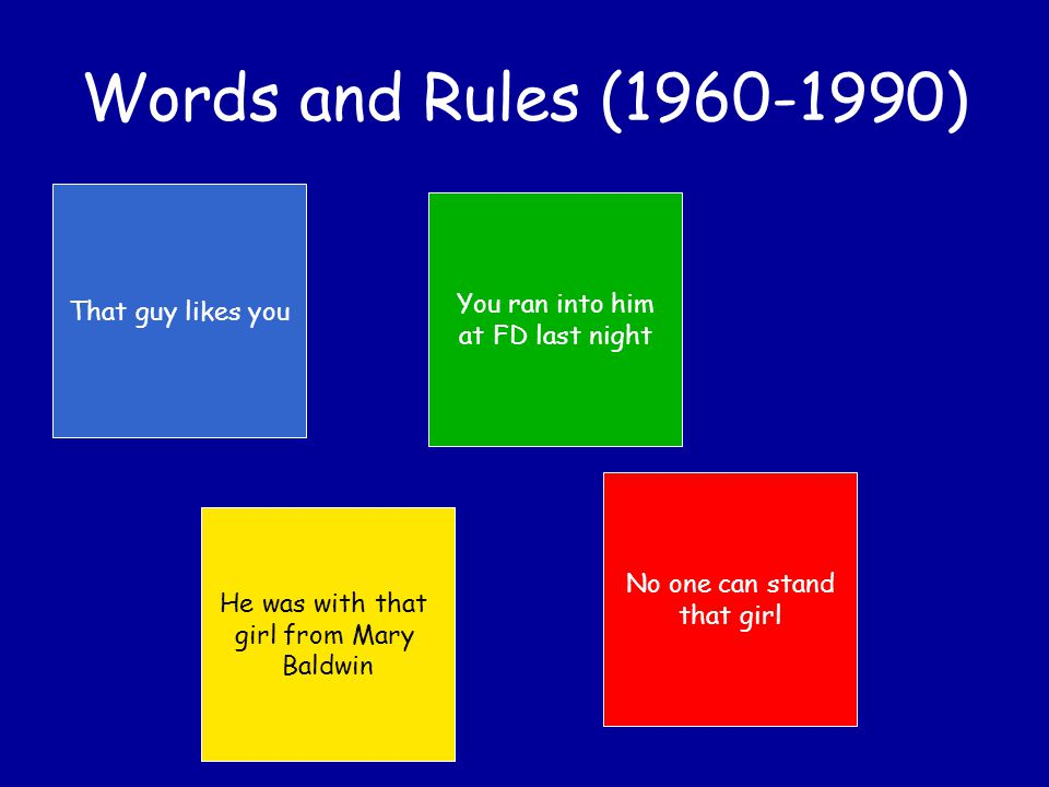 Words and Rules (1960-1990) Producing / understanding sentences involves coordinating the behavior of (1) a state/transition model (2) a stack that keeps track of the current subject/verb