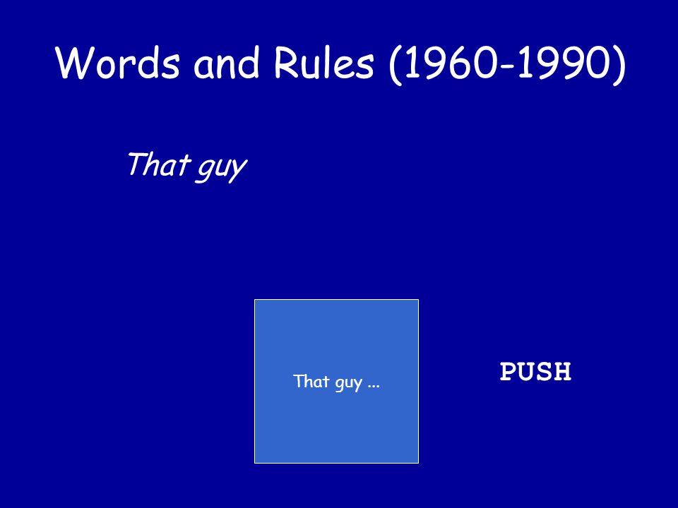 Words and Rules (1960-1990) That guy likes you You ran into him at FD last night He was with that girl from Mary Baldwin No one can stand that girl