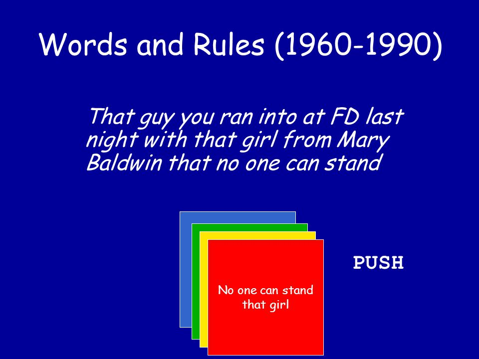 Words and Rules (1960-1990) That guy you ran into at FD last night with that girl from Mary Baldwin He was with that girl from Mary Baldwin That guy...