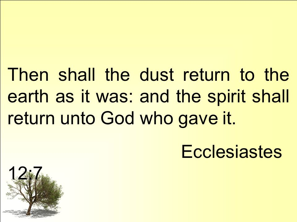 Then shall the dust return to the earth as it was: and the spirit shall return unto God who gave it.
