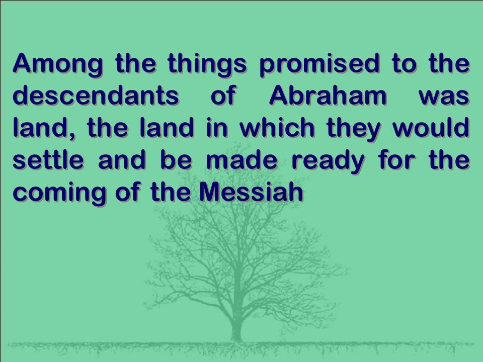 Among the things promised to the descendants of Abraham was land, the land in which they would settle and be made ready for the coming of the Messiah