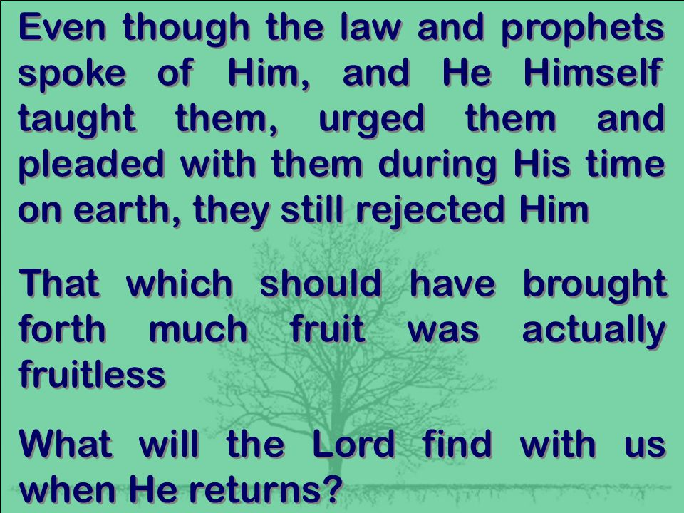 Even though the law and prophets spoke of Him, and He Himself taught them, urged them and pleaded with them during His time on earth, they still rejected Him That which should have brought forth much fruit was actually fruitless What will the Lord find with us when He returns