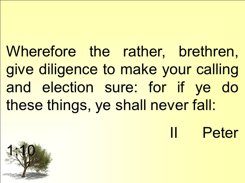 Wherefore the rather, brethren, give diligence to make your calling and election sure: for if ye do these things, ye shall never fall: II Peter 1:10