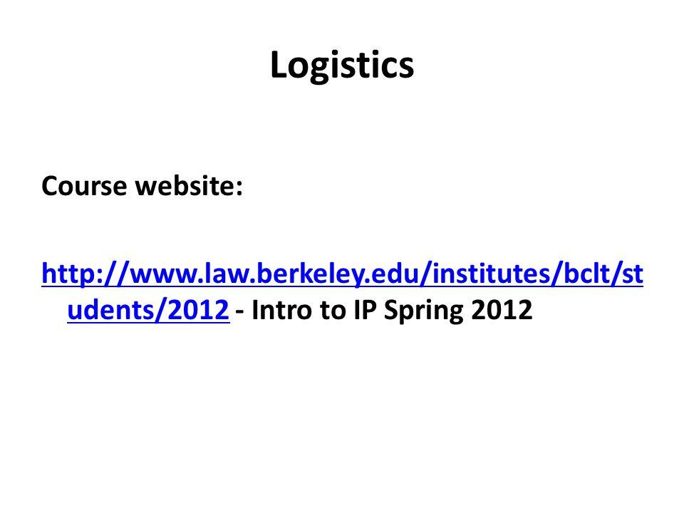 Logistics Course website: http://www.law.berkeley.edu/institutes/bclt/st udents/2012http://www.law.berkeley.edu/institutes/bclt/st udents/2012 - Intro