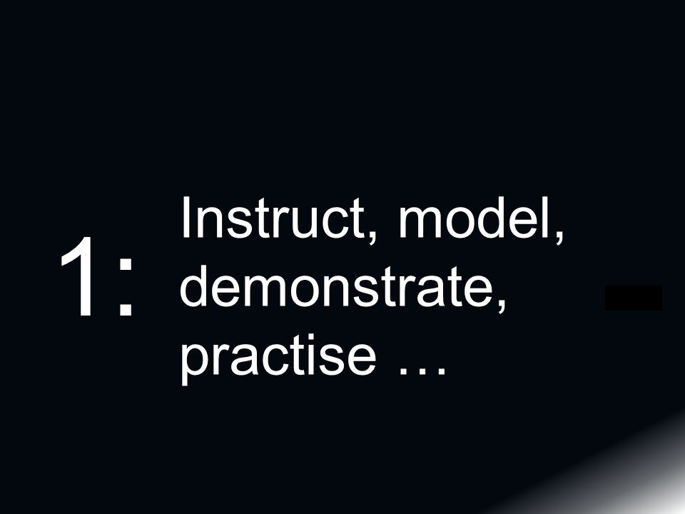 Instruct, model, demonstrate, practise … 1: