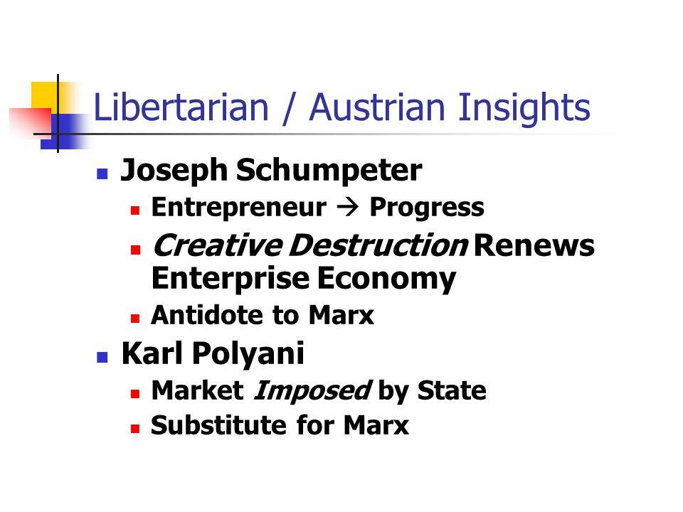 Libertarian / Austrian Insights Joseph Schumpeter Entrepreneur  Progress Creative Destruction Renews Enterprise Economy Antidote to Marx Karl Polyani Market Imposed by State Substitute for Marx